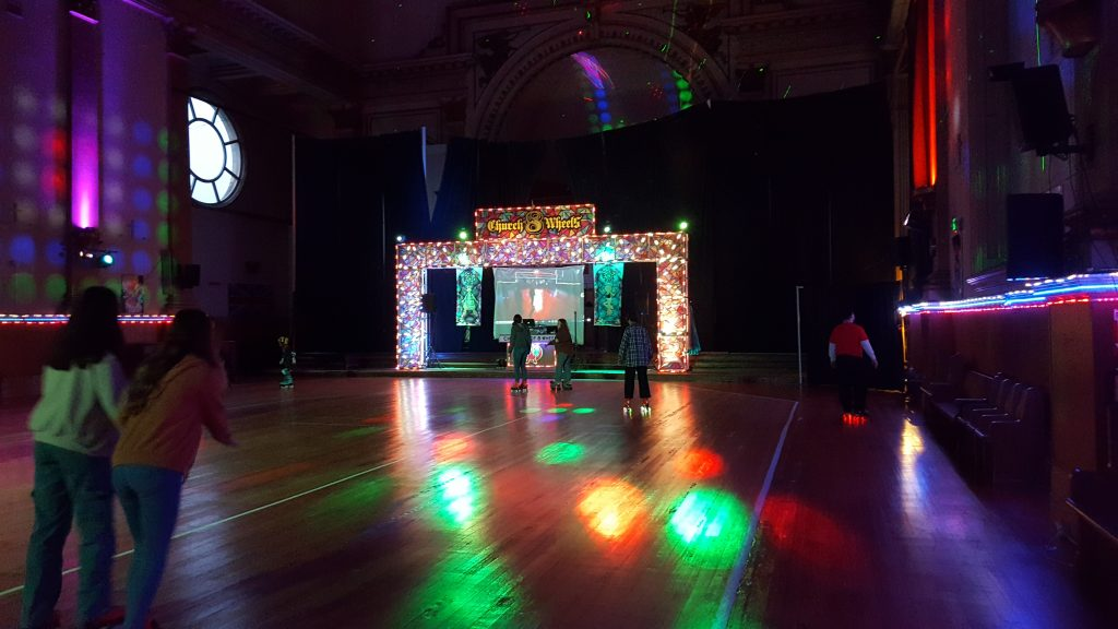 Church converted into a disco roller rink.
