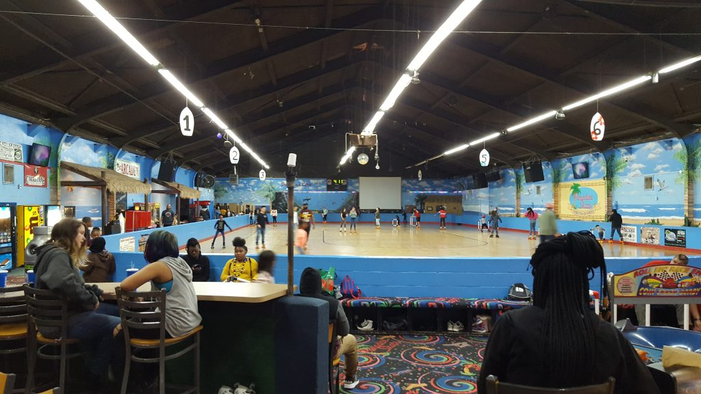 Indoors at the Paradise Skate Roller Rink in Antioch, California