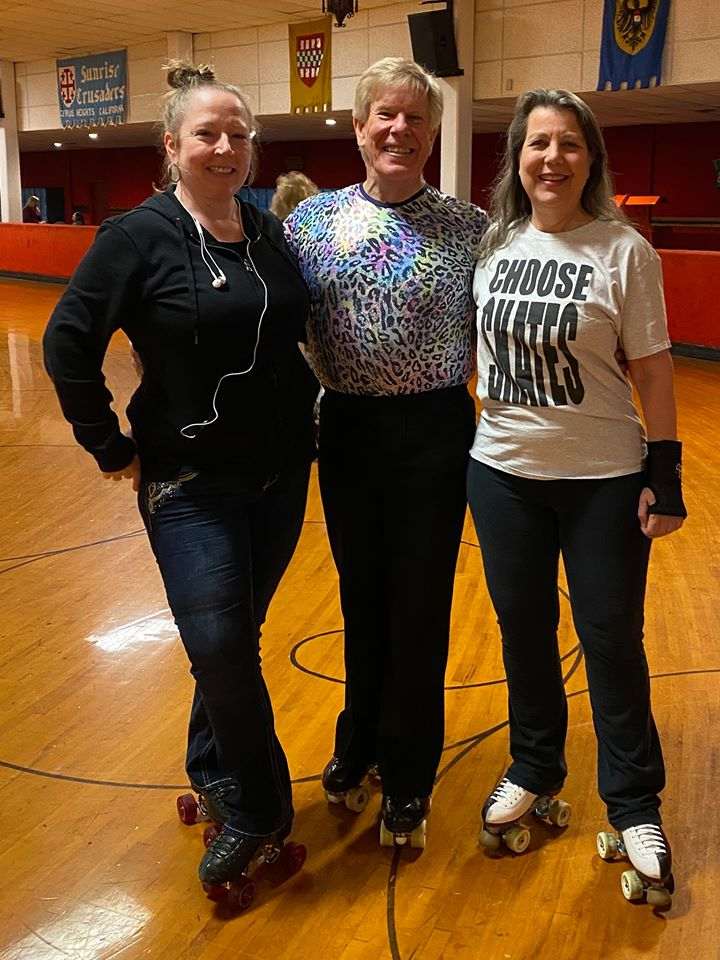 Ginger Mathews, Tim Laskey, and Susan Geary at Sunrise Rollerland in Citrus Heights, CA.