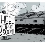 Wheel Be Open Soon sign outside a closed roller rink